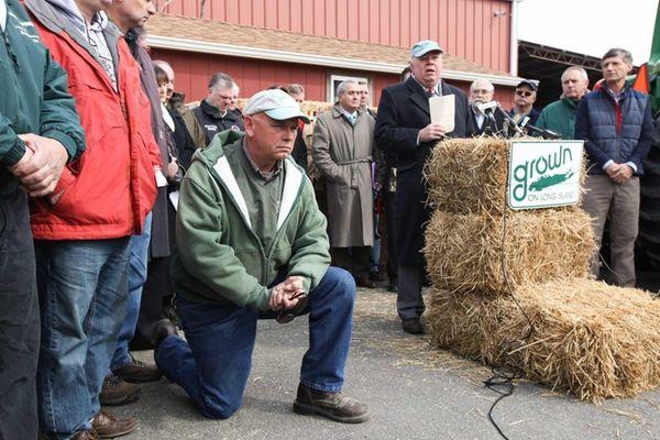 Farmers look on as Long Island Farm Bureau