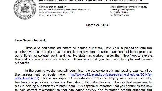 A letter from Education Commissioner John B. King,