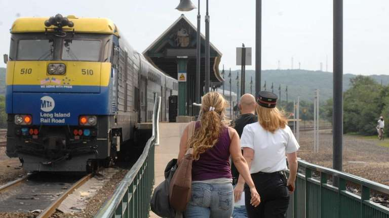 An LIRR train at the Montauk station on