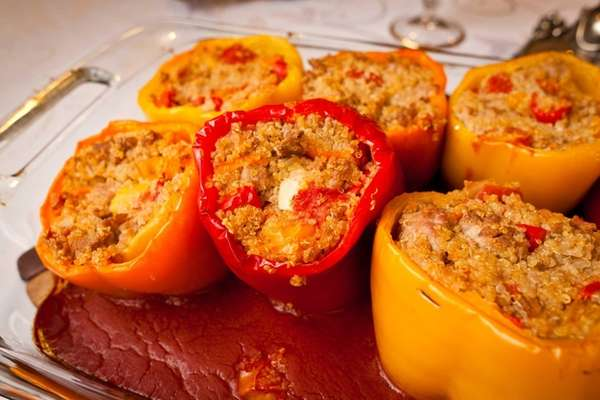 Rabbi Jonathan Waxman serves turkey-and-quinoa-stuffed peppers as an