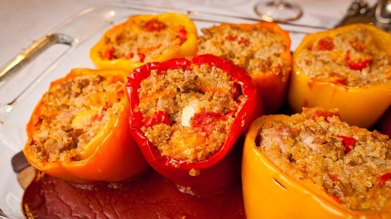 Rabbi Jonathan Waxman serves turkey-and-quinoa-stuffed peppers as an