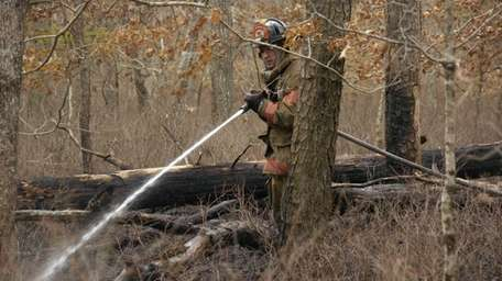 Firefighters spray water on a brush fire on