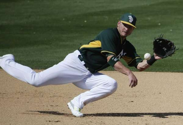 Oakland Athletics third baseman Josh Donaldson fields a