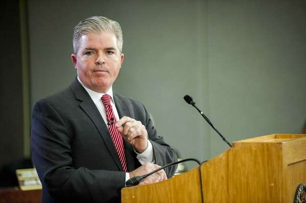 Suffolk County Executive Steve Bellone addresses legislators and