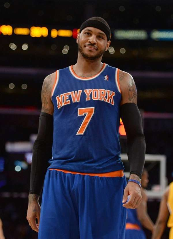 Carmelo Anthony of the Knicks reacts to his