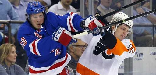 J.T. Miller of the Rangers collides with Tye