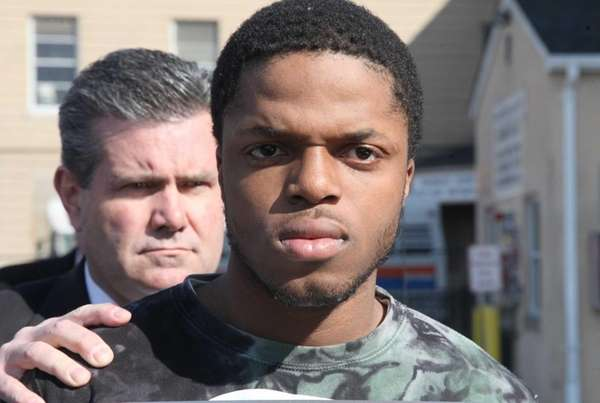 Tyshaun Phillips leaves the Nassau County police headquarters