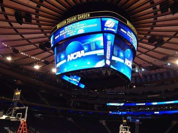 Inside Madison Square Garden for media availability prior