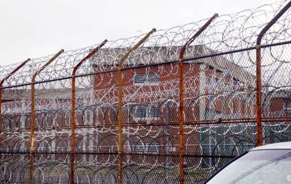 An exterior view of Rikers Island.