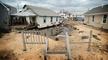 Homes along Bayview Avenue West in Lindenhurst, seen