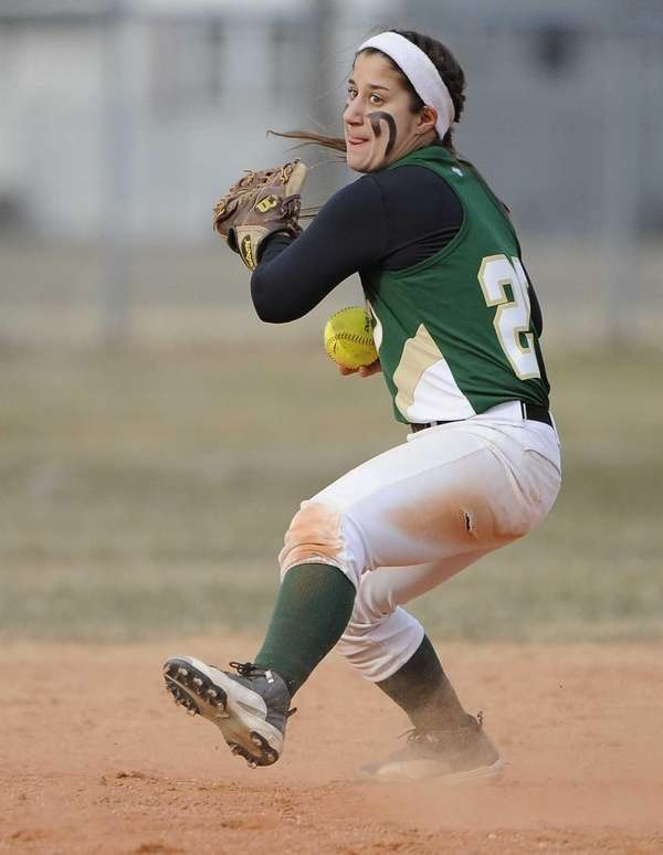 Longwood's Leah Mele fields the ball against Lindenhurst