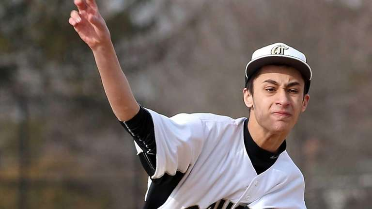 Commack starting pitcher Vincent Negri throws in a