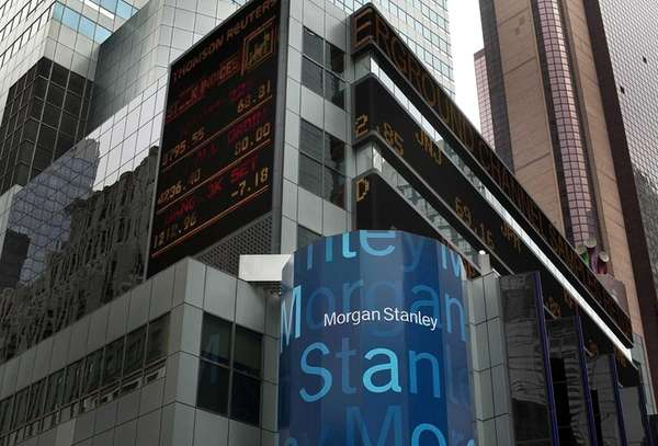 Morgan Stanley signage is displayed below a news
