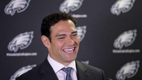 Philadelphia Eagles quarterback Mark Sanchez speaks during a