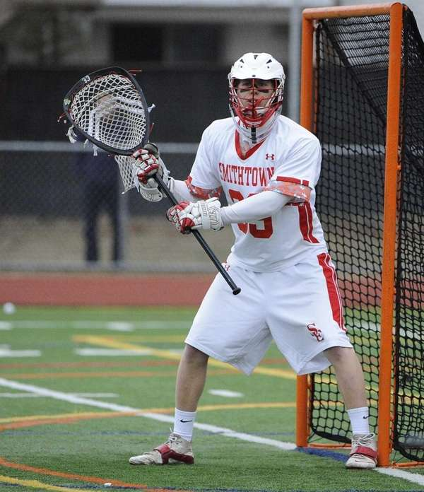 Smithtown East goalkeeper Billy McEnroe protects the net