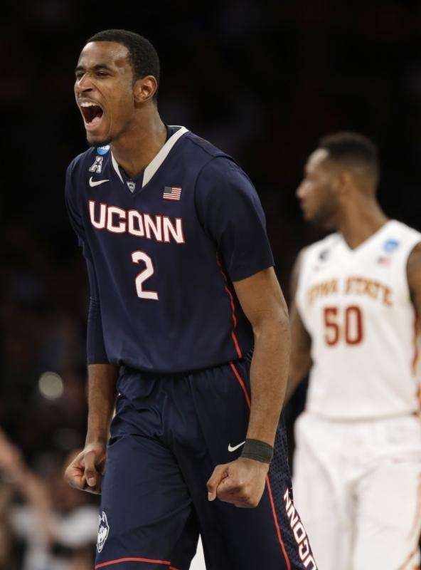 Connecticut's DeAndre Daniels exults during the second half