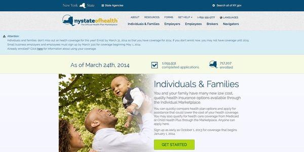 A screengrab of New York's health exchange website