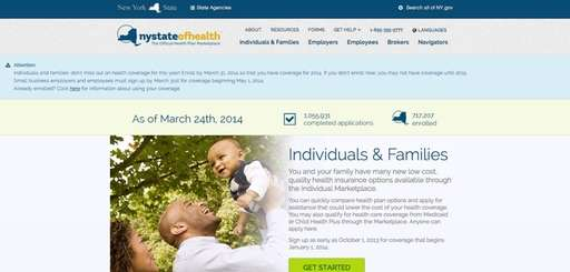 A screengrab of New York's health exchange website