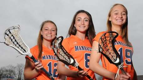 Manhasset All-American trio, from left, Lindsey Ronbeck, Julia