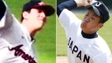 This composite image shows Mets pitcher Matt Harvey