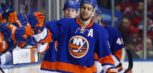 Frans Nielsen of the Islanders celebrates his second