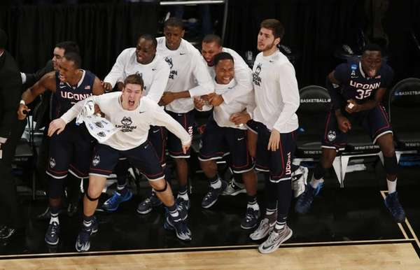UConn players react during the game against the