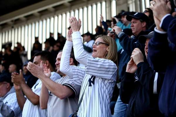 Yankees fans celebrate opening day at Yankee Stadium