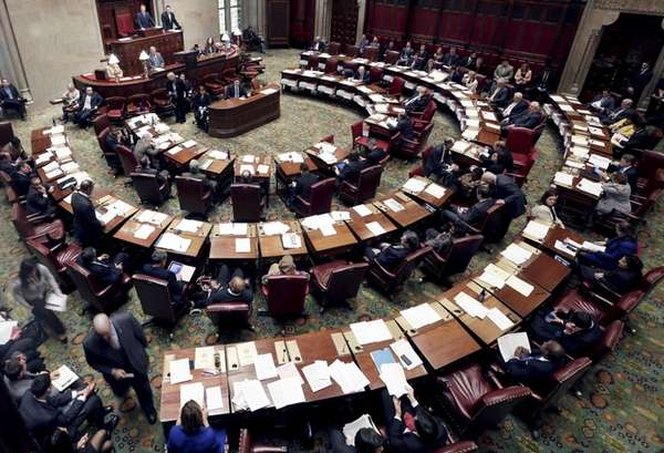 The New York State Senate meets in the