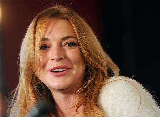 Lindsay Lohan at a news conference at the