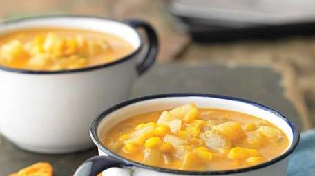 The comforting corn chowder recipe can be found