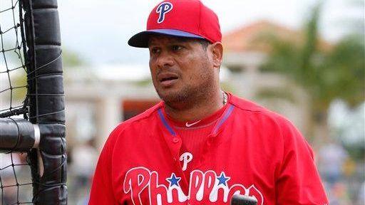 The Philadelphia Phillies' Bobby Abreu waits his turn