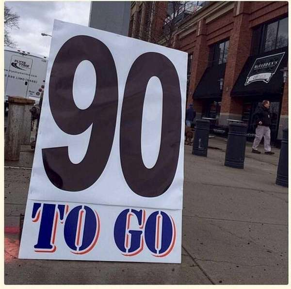 A fan's sign at Citi Field during Opening