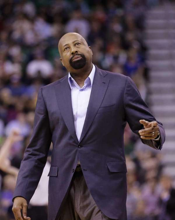 Knicks head coach Mike Woodson looks at the