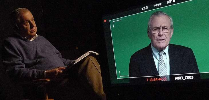 "Errol Morris interviews Donald Rumsfeld in ""The Unknown"