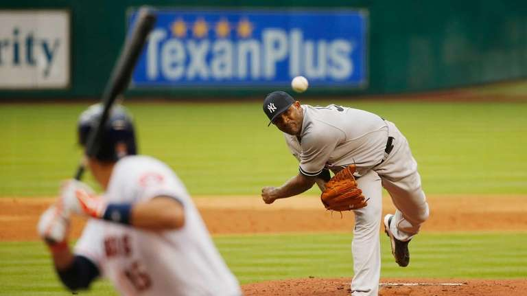 CC Sabathia of the Yankees throws a pitch