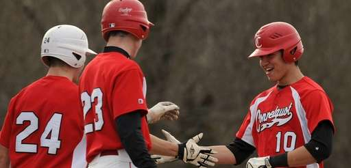 Connetquot RF Marc Wangenstein, right, gets congratulated by