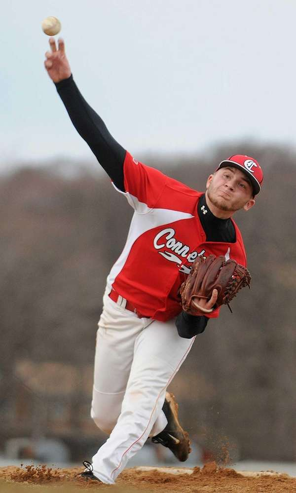 Connetquot pitcher Matt Buckshaw delivers to the plate
