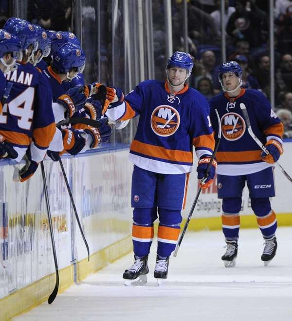 Islanders left wing Josh Bailey celebrates his goal