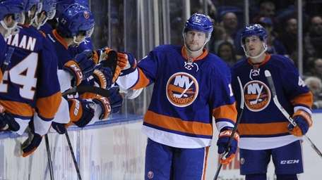 Islanders left wing Josh Bailey celebrates his goal