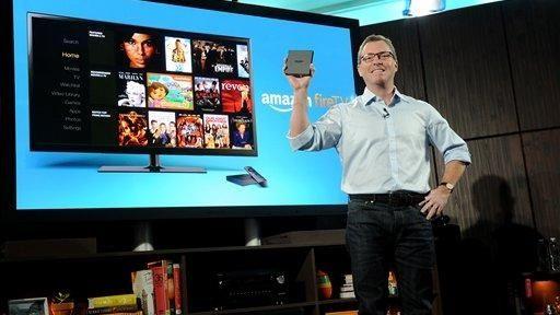 Amazon's Peter Larsen introduces Amazon Fire TV Wednesday,