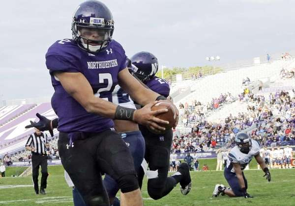 Northwestern quarterback Kain Colter wears APU for