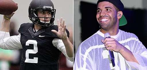 Texas A&M quarterback Johnny Manziel and rapper Drake