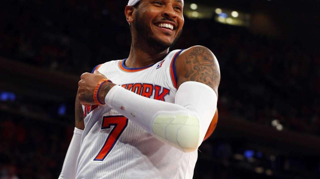 Carmelo Anthony of the Knicks smiles after a