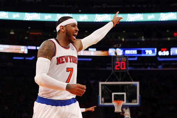 Carmelo Anthony of the Knicks reacts to a