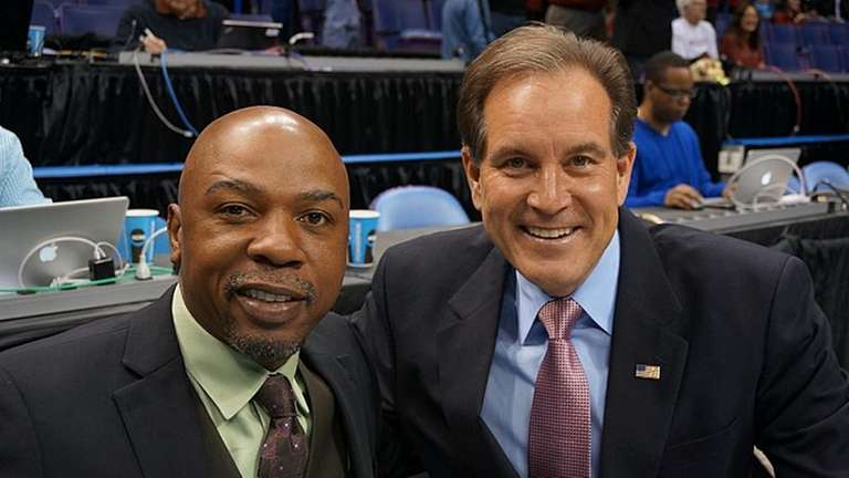 CBS NCAA basketball analyst Greg Anthony, left, and