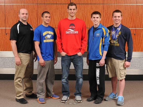 From left, Half Hollow Hills coach Jason Wiedersum,