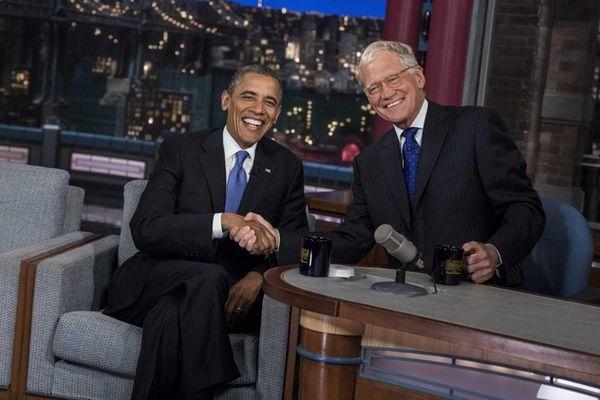 President Barack Obama and David Letterman during a