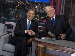 President Barack Obama and David Letterman during a