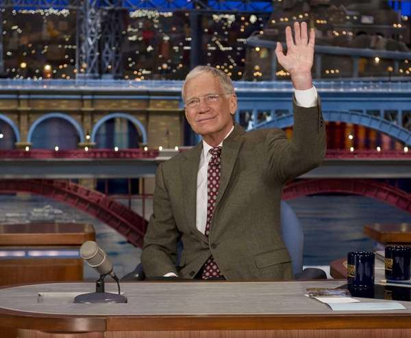 In this photo provided by CBS, David Letterman,