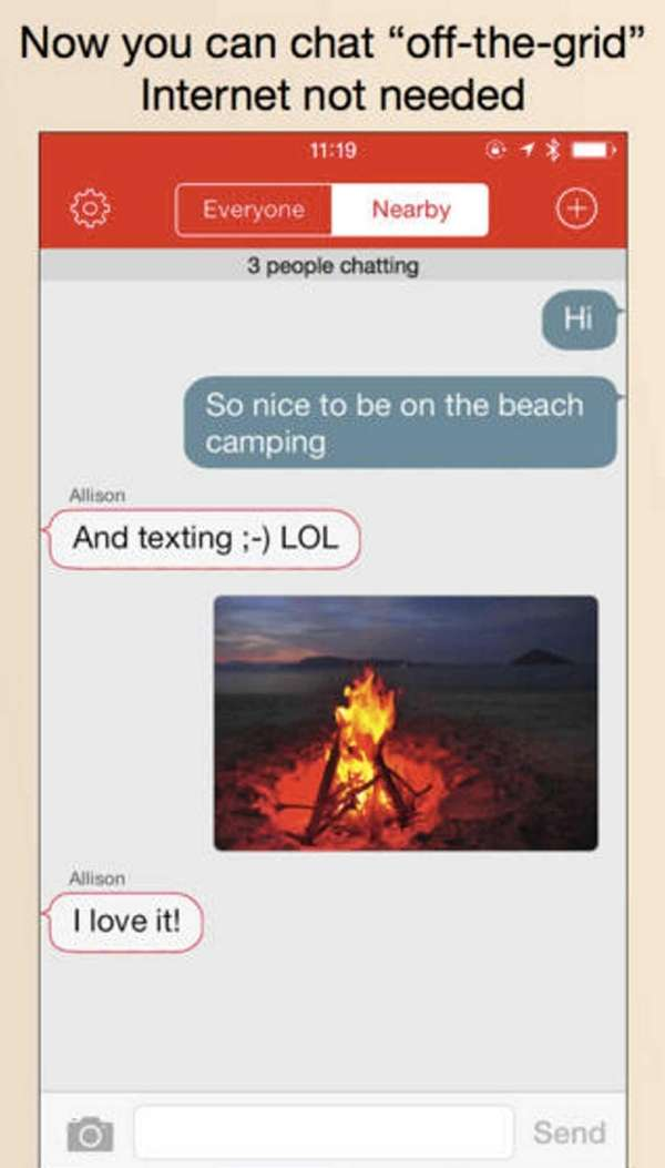 A screen shot of the free FireChat app,